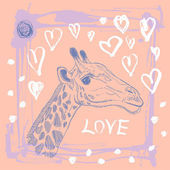 Card with cute giraffe and heart. — Stock Vector
