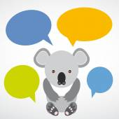Funny koala with colored speech bubbles on white background. vec — Stock Photo
