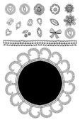 Set of sketch lace, diamonds, flowers, leaves, greeting card. Black outline. vector — Stock Photo