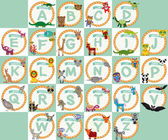 Alphabet for kids from A to Z. Set of funny cartoon animals char — Stock Photo