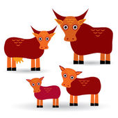 Cow, bull and two calves. Set of funny animals with cubs on white background. vector — Stock Photo