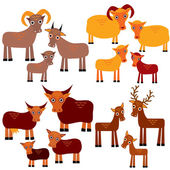 Set of funny animals with cubs. Goats, sheep, cows, deer on a white background. vector — Stock Photo