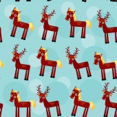 Deer and horse. Set of funny animals seamless pattern on a blue background. vector — Stock Photo