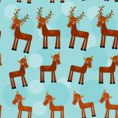 Deer. Set of funny animals seamless pattern on a blue background. vector — Stock Photo