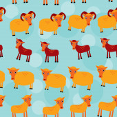 Ram, ewe and lamb. Set of funny animals with cubs seamless pattern on a blue background. vector — Zdjęcie stockowe