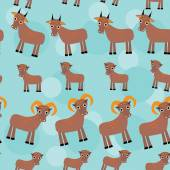 Set of funny animals with cubs. Goats seamless pattern on a blue background. vector — Stock Photo