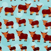 Cow, bull and two calves. Set of funny animals with cubs seamless pattern on a blue background. vector — Stock Photo