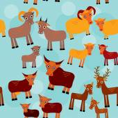 Set of funny animals with cubs. Goats, sheep, cows, deer seamless pattern on a blue background. vector — Stock Photo
