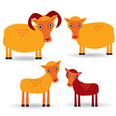 Ram, ewe and lamb — Stock Vector