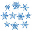 Set blue winter snowflakes on white background. Vector — Stock Vector #57228623