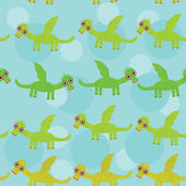 Funny green dragon with wings on blue background seamless pattern. vector — Stock Vector
