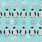 Funny Penguins on blue background seamless pattern. vector — Stock Vector