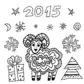 Set new year symbol 2015 sheep, spruce, snowflakes on white background. black contour sketch. vector — Stock Vector