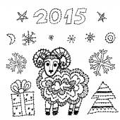 Set new year symbol 2015 sheep, spruce, snowflakes on white background. black contour sketch. vector — Stockvektor