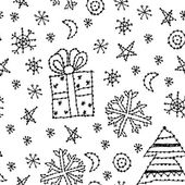 Seamless pattern set new year symbol on white background. black contour sketch. vector — Stockvektor