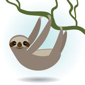 Three-toed sloth on green branch on white background. vector — Stockvektor