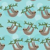 Seamless pattern Three-toed sloth on green branch on blue background. vector — Stockvektor
