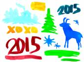 Symbols of the new year 2015 Goat, spruce, numbers, paint stains. vector — Stok Vektör