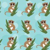 Seamless pattern lemur on green branch on blue background. vector — Stock Vector