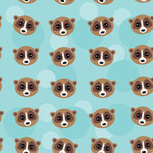 Seamless pattern lemur muzzle on blue background. vector — Stockvektor