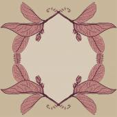 Leaves contours  floral border. Sketch frames, hand-drawn. Vector   — Cтоковый вектор