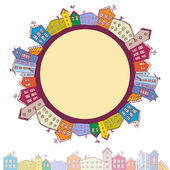 Collection of houses vintage on white background circle with city. vector  — Stock Vector
