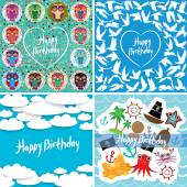 Funny colorful Happy birthday card set. Vector — Stockvector