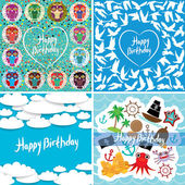 Funny colorful Happy birthday card set. Vector — Cтоковый вектор