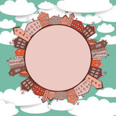 Collection of houses vintage on sky background Retro card circle with city. vector  — Stock Vector