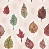 Watercolor autumn leaves seamless pattern, paint stains. vector — Stock Vector