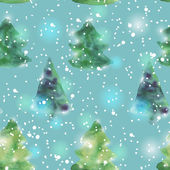 Seamless pattern with watercolour Christmas trees. Vector — Stock Vector