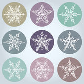 Snowflake winter set icon collection. Vector — Stock Vector