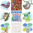 Set of funny animals. Greeting cards Happy Birthday and New Year. Seamless background snake. vector — Cтоковый вектор #58405083