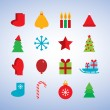 Character set new year snowflakes, socks, mittens, Christmas tree, gifts, sleigh, star, candle. vector — ストックベクタ #58405243