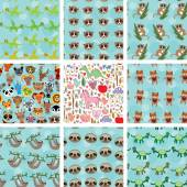 Set of 9 seamless pattern with funny animals on  blue background. vector — Stock Vector