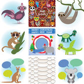 Set of funny animals. Greeting cards Happy Birthday and New Year. Seamless background snake. vector — Stock Vector