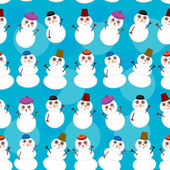 Seamless pattern cute cartoon snowmen on blue background for winter design. vector  — Stock Vector