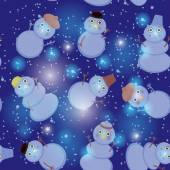 Seamless pattern cute cartoon snowmen on dark blue background for winter design. vector  — Stock Vector