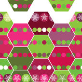 Festive seamless pattern hexagon and Christmas snowflakes. Pink, purple, green background. vector — Stock Vector