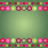Card for Christmas design frame with snowflakes on green background. vector — Stock Vector