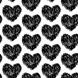 Seamless pattern with hearts black and white. Vector — ストックベクタ #59411775
