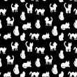 Seamless pattern silhouettes of cats. black and white. vector — Stock Vector #59411809