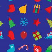 Seamless pattern new year snowflakes, socks, mittens, Christmas tree, gifts, sleigh, star, candle on dark blue background. vector — Stock Vector
