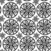 Modello senza cuciture di pizzo con fiori neri su sfondo bianco. Vector — Vettoriale Stock