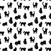Bezešvé pattern černé kočky siluety na bílém pozadí. vektor — Stock vektor