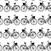 Vintage black bicycles, seamless pattern black and white. vector — Stockvektor
