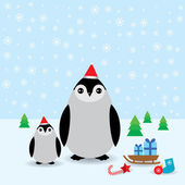 Funny penguins in the red hat, christmas winter card. vector — Stock Vector