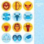 Funny blue and orange zodiac sign icon set astrological, vector — Stockvector
