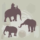 Elephants silhouette on grunge background. vector — Stock Vector