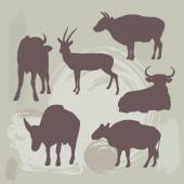 Cow, bull and deer silhouette on grunge background. vector — Vector de stock